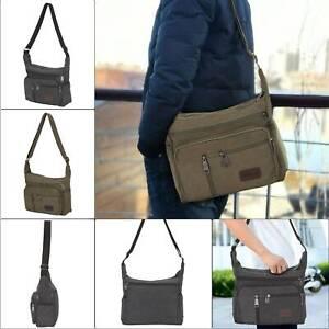 Men Classic Expanding Messenger Bag Canvas Shoulder Bag School Satchel Handbag
