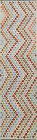 Geometric Kilim Chevron Style Oriental Runner Rug Reversible Hand-Woven 3x10 ft