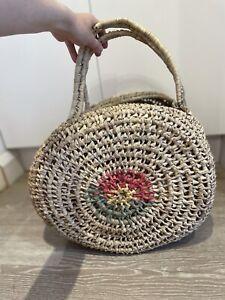 Seagrass Straw Round Basket French Market Beach Basket Tote Shopper Bag