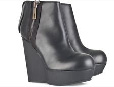 Acne studios 'Hybria'  HIGH WEDGE BLACK LEATHER ANKLE BOOTS EU 40 US 10