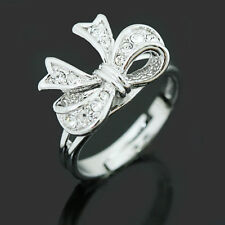 18k White Gold Plated Clear Crystal Women Fashion Butterfly Open Mouth Ring R135