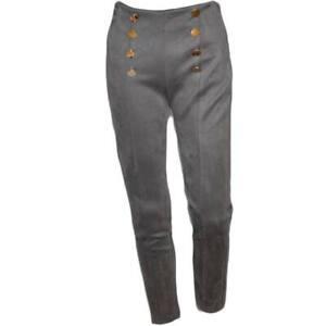 Pantaloni donna a sigaretta grigio topo a vita alta di velluto a coste con botto