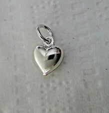 TINY 7x8mm Sterling Silver Hollow Puffy Heart Charm ch