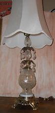 Vintage Hollywood Regency Brass Crystal Glass Lamp Prisms ca 1950's Elegant!