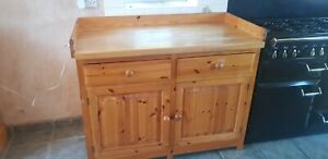 Pine Freestanding Kitchen Units including double Belfast sink and taps