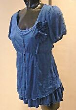 Joe Browns Crinkle Luscious Layer Top Blue UK Size 8 Nes