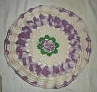 "Hand Crocheted Doily Verigated White Purple Green Scallop  Handmade 9"" Vintage"