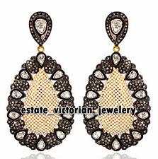 Estate Artdeco 6.27Cts Rose Antique Cut Diamond Pearl Silver Jewelry Earring
