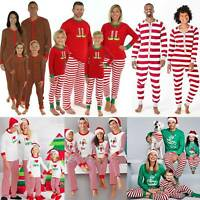 Christmas Xmas Family Matching Set Pajamas Nightwear Kids Adult Striped Pyjamas