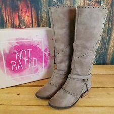 1d6bab78222 Not Rated Womens Yoko Taupe Gray Faux Leather Mid Calf Buckle Riding Boot 7