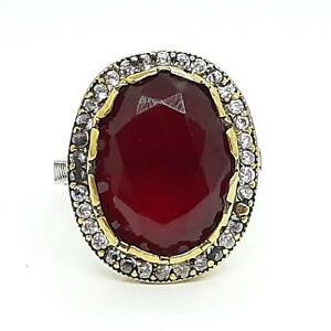 Deco 11.50ct Ruby & Diamond Cut White Sapphire 14K Yellow Gold 925 Ring Size 8.5