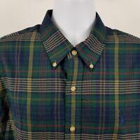 RECENT Ralph Lauren Men's Green Blue Plaid Check L/S Casual Button Shirt Sz XL