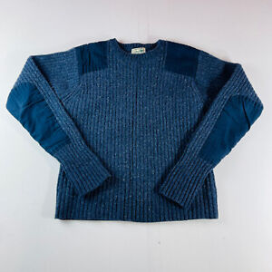 LL Bean Sweater Navy Blue Elbow Patch 100% Lambswool Mens Size Small