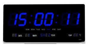 LED wanduhr Digitaluhr digital Wohnzimmer Küchenuhr beleuchtung in blau- 3615