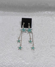 BLUE TRIPLE STAR DANGLING EARRINGS - ENAMEL W/RHINESTONE
