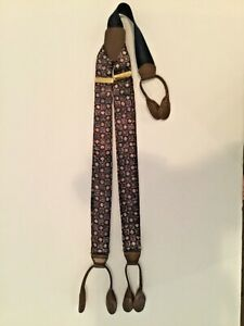 Vintage CAS Braces Suspenders Silk Leather DIAMOND Made West Germany EUC Brass A