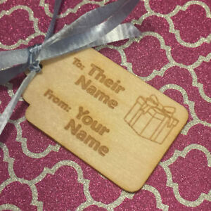 PERSONALIZED GIFT TAG - Wood Burned - Custom Text Name - Wooden Holiday Birthday