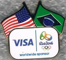 2016 Rio VISA USA and Brazil Flags Olympic Games Mark Sponsor Pin