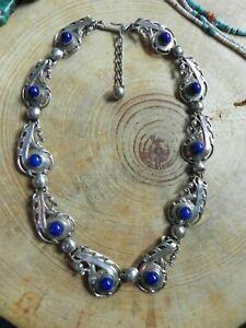 """Lapis & Silver Paisley design Necklace 15-17"""" by Napier"""