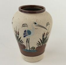 VTG Mexiko Sandstein Kunst Keramik Vase handbemalt Vogel Acapulco Souvenir