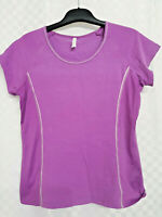 Ladies M&S Running T-Shirt Top Size 16 Purple Stretch Cotton Blend Short Sleeve