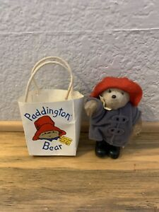 """1996 5"""" Paddington Bear in Small Gift Bag by Eden Red Hat/Black Boots/Blue Coat"""