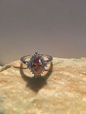 Marquise Cut Morganite & White Topaz Gemstone S-Silver PLATED Ring Size 9-R741