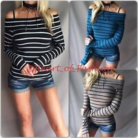 Sexy Basic Stripe Off Shoulder Stretch Long Sleeve Brushed Knit Fitted Top Shirt