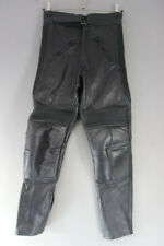 SPORTEX BLACK LEATHER BIKER TROUSERS: WAIST 32 INCH/INSIDE LEG 30 INCH