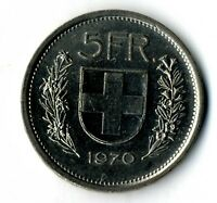 Moneda Suiza 1970 5 francos suizos coin