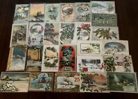 ~Lot of 25 Christmas Holiday Postcards with Winter Snowy Scenes ~Holly~a695