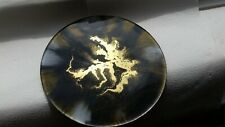 "BESPOKE HANDMADE 10"" DIAMETER RESIN DECORATIVE PLATE STAND BLACK/GOLD SPARKLY"