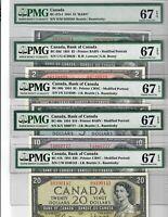 Canada Lot of 5 Banknotes $1 $2 $5 $10 $20 1954 PMG Superb GEM UNC 67 EPQ