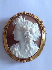 Fine Antique Victorian 15ct Gold Mounted Carved Shell Cameo Brooch