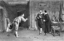 DUEL CHALLENGE MEDIEVAL SWORD FIGHT CAVALIER PURITAN ~ 1884 Art Print Engraving