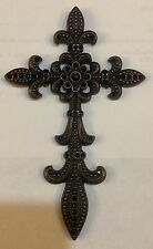 Wall Hanging Cross With Crystals Copper  Color Metal With Jet Color Crystals