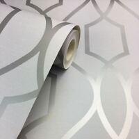 Apex geométrico Enrejado Papel Pintado Piedra Gris Plata Fino Decoración fd41995