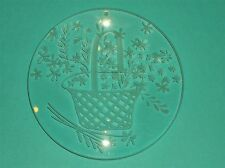 "LOVELY VINTAGE OPTICAL LENS HANGING ART GLASS~ETCHED FLOWERS & BASKET~ 5""DIAM"