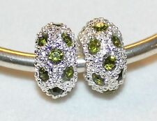 2x GREEN PAVE' CRYSTAL RHINESTONE SILVER BEADS LOT M64 FITS EURO MURANO CHARM BR
