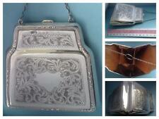 A STUNNING  'SUPER LARGE' SHAPELY SOLID SILVER VISITING  PURSE HM. B'HAM 1916