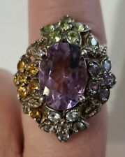 Vintage Style Large Amethyst & Multi Color Gemstones Sterling Silver Ring Sz 8