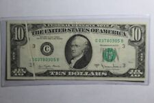 1977 A $10 Note Error Fold Over Philadelphia Federal Reserve Note