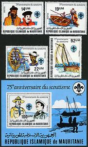 Mauritanie 495-498, 499 S/S, MNH Scoutisme Mouvement, 75th Anniv. 1982