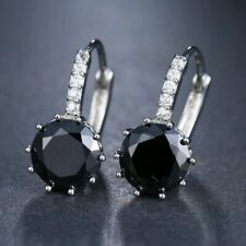 Earring Solid 14k White Gold Over 0.50Ct Round Cut Black Diamond Drop Dangle