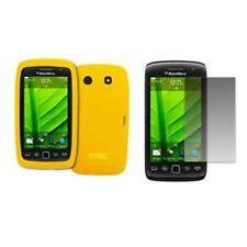 for BlackBerry Torch 9850 Case Silicone Skin Yellow+LCD Screen Protector Guard