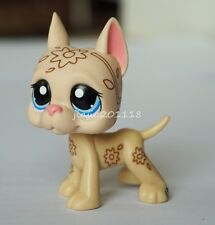 No# Littlest Pet Shop LPS Beige & Tan Great Dane Dog Deco Flowers Blue Eyes