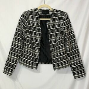 Banana Republic Black & White Tweed Open Blazer S