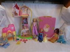 Disney Tangled Tower Rapunzel Castle + Aurora Storybook Castle + Snow white Cott