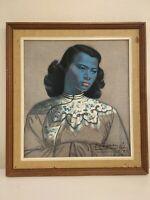 """VTG Vladimir Tretchikoff """"The Chinese Girl"""" Print 12"""" x 13"""" Framed- Signed"""