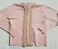 True Vintage! 1950's Betty-Lou Pink Orlon Cardigan Sweater Pearls Lace Small